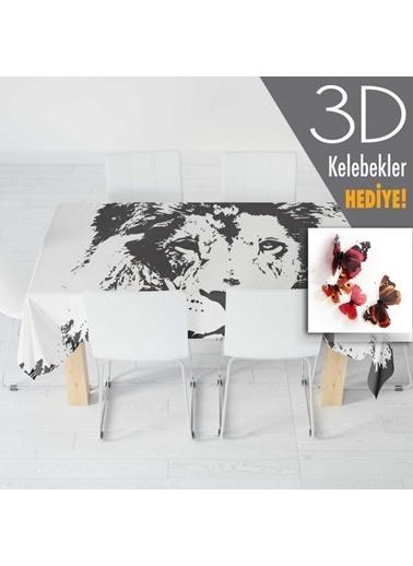 Artikel Siyah - Beyaz Aslan Desenli Masa Örtüsü 140x160cm Renkli